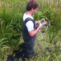 Rolf Hut testing the temperature-sensing waders in the field (2)