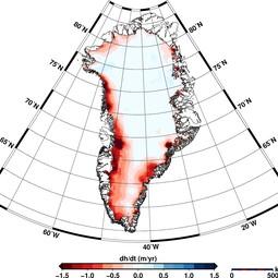 Elevation change in Greenland