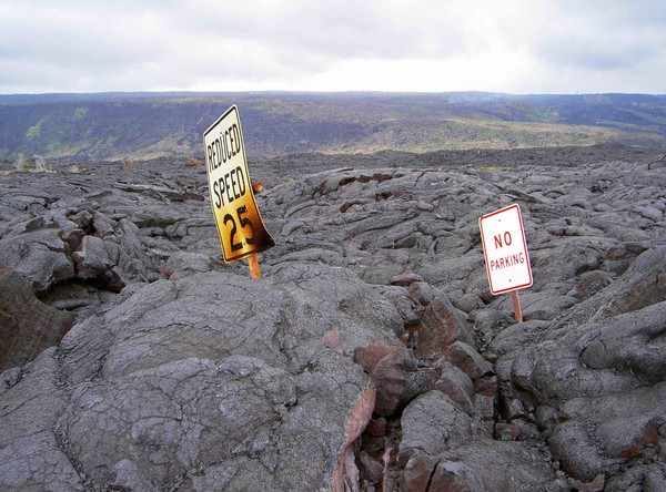 Recycled lost road with relevant signs