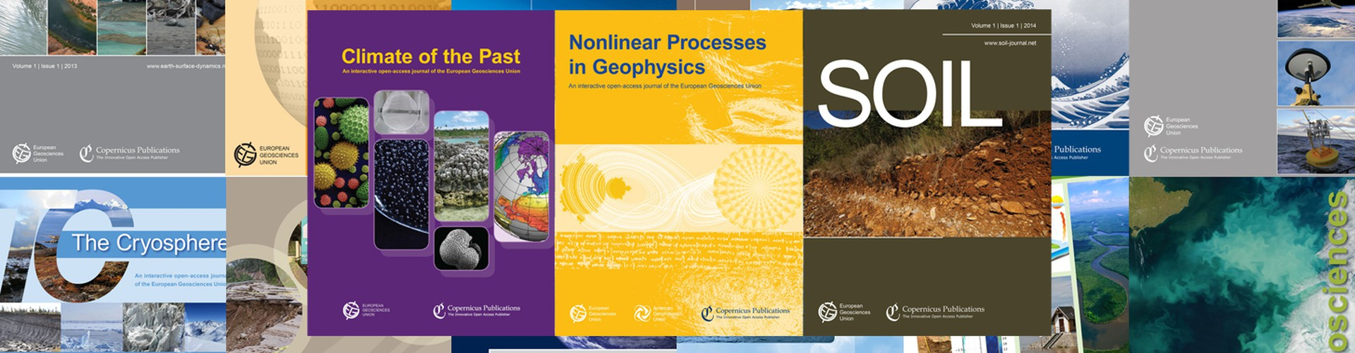 Covers of the 15 EGU journals with a two-stage publication concept