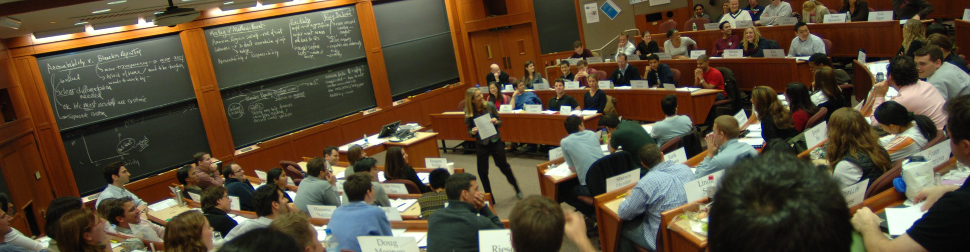 A Harvard Business School classroom (Credit: HBS1908 by CC 3.0 via Wikimedia Commons)