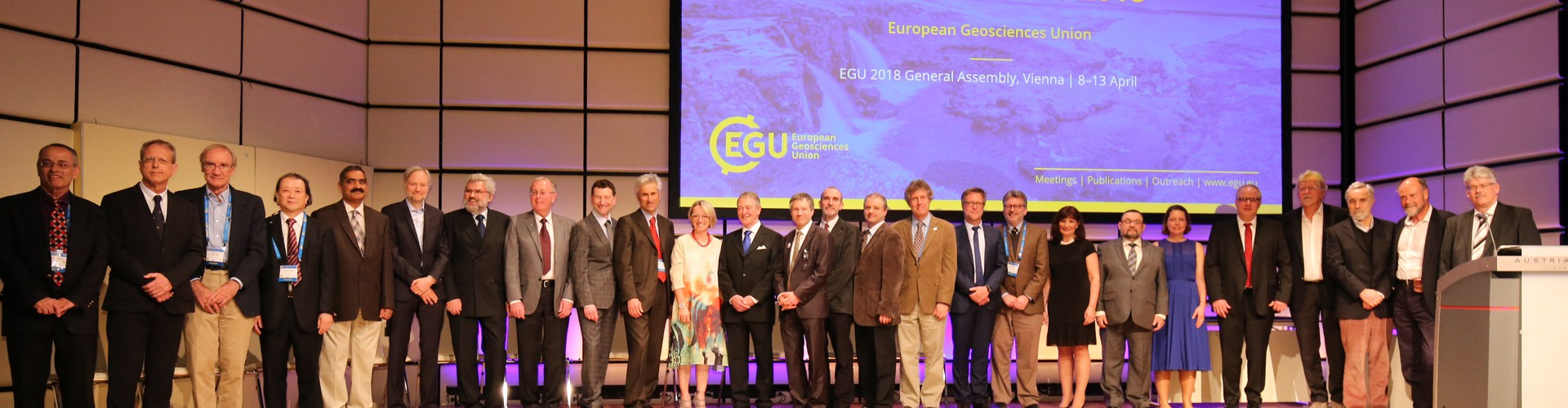 Some of last year's awardees with the EGU President and Vice-President at the EGU 2018 Awards Ceremony (Credit: EGU/Foto Pfluegl)