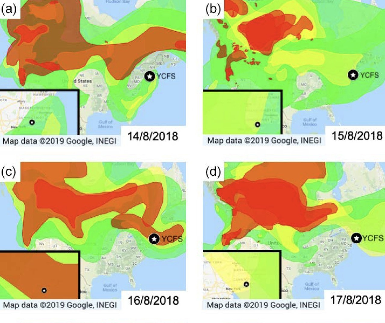 Satellite-based smoke maps (NOAA) (Credit: Rogers et al., Atmos. Chem. Phys., 2019)
