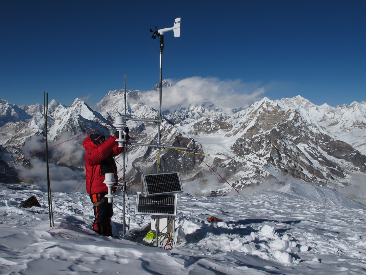 Taking measurements on Mera glacier in the Dudh Koshi basin (Everest visible in the background) (Credit: Patrick Wagnon)