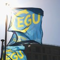 EGU flags outisde the Austria Center Vienna during the EGU General Assembly