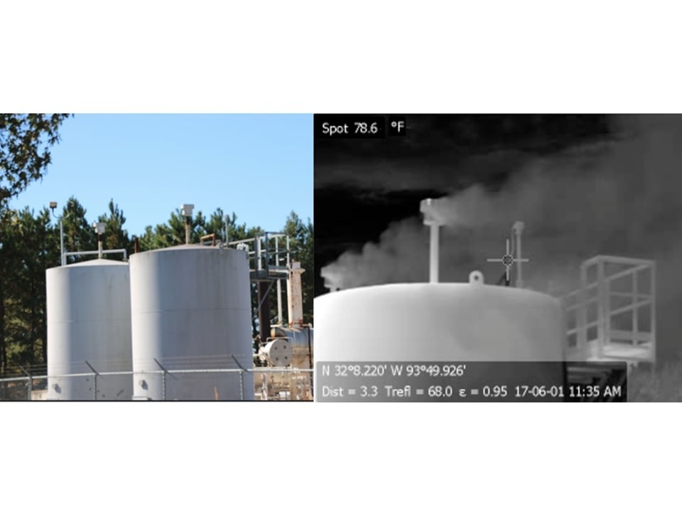 Photographs of gas storage tank taken with visible and infrared cameras (Credit: Howarth, Biogeosciences, 2019)
