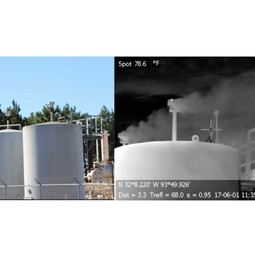 Photographs of gas storage tank taken with visible and infrared cameras