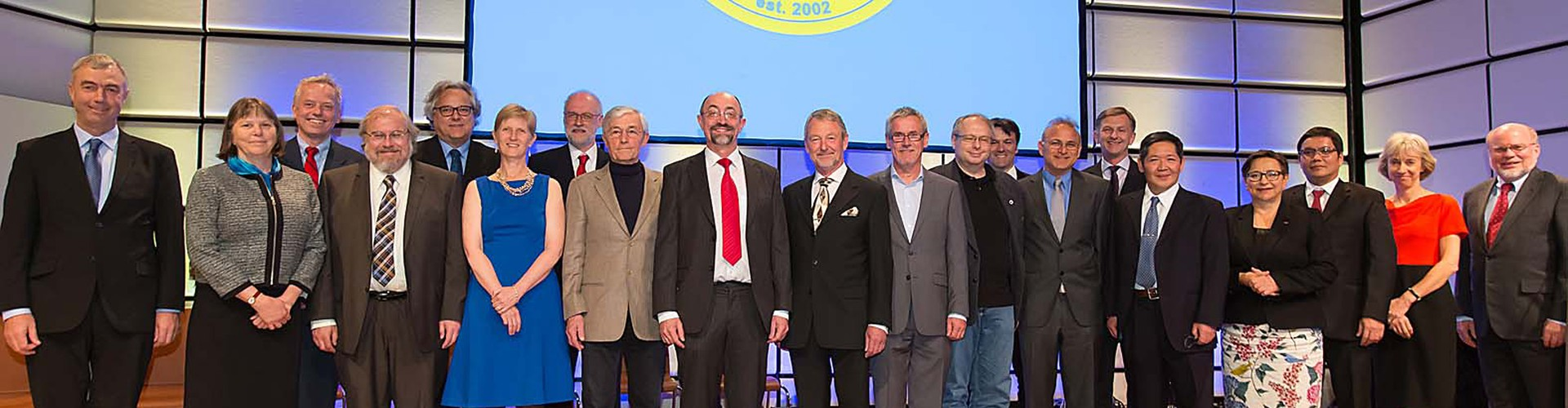 A few of last year's awardees with the EGU President and Vice-President at the EGU 2015 Awards Ceremony. (Credit: EGU/Foto Pfluegl)
