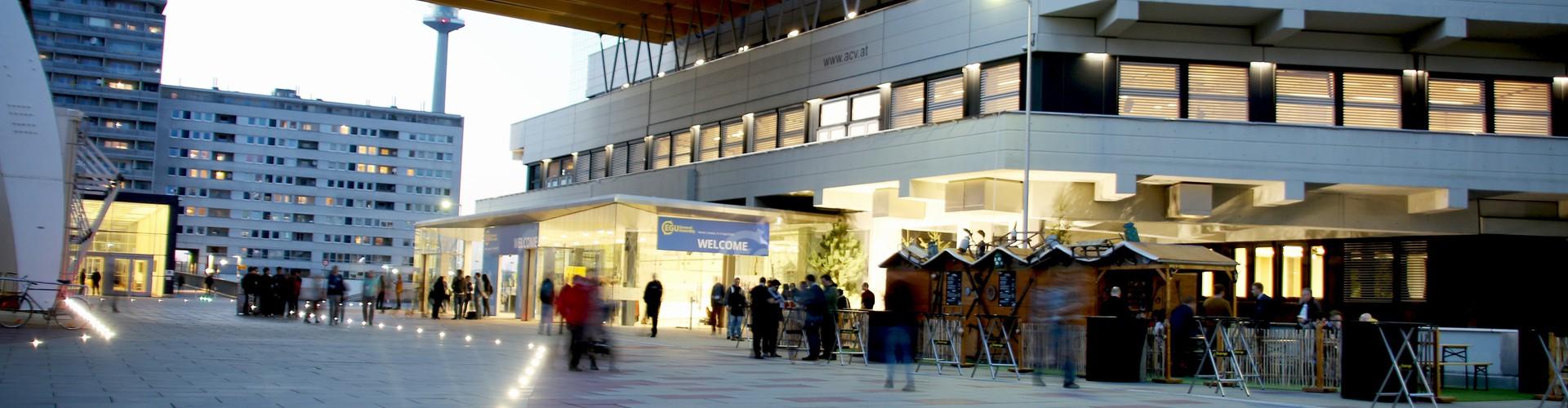 Evening at the Austria Center Vienna during the EGU General Assembly (Credit: Keri McNamara/EGU)