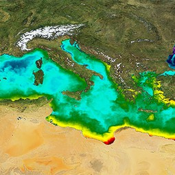 A day's sea surface temperature values in the Mediterranean in October 2011