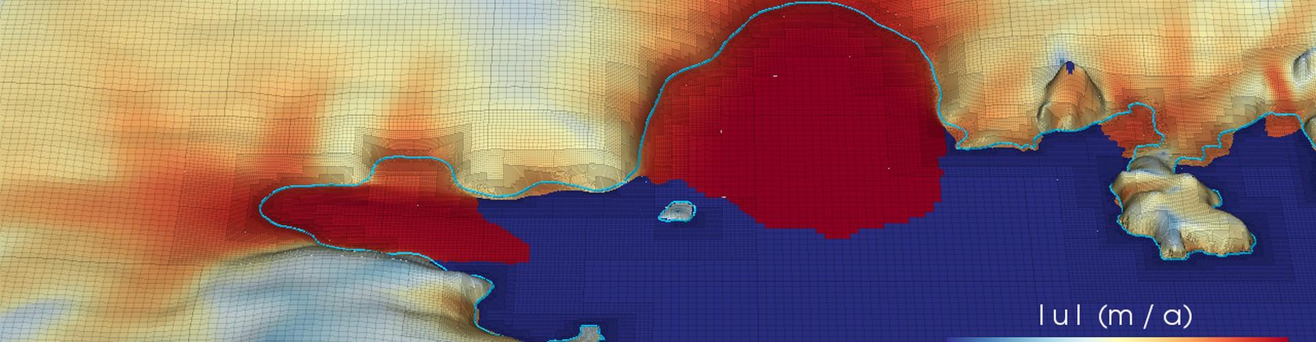 Retreat in the Amundsen Sea Embayment in 2154 (Credit: Cornford et al., The Cryosphere, 2015)