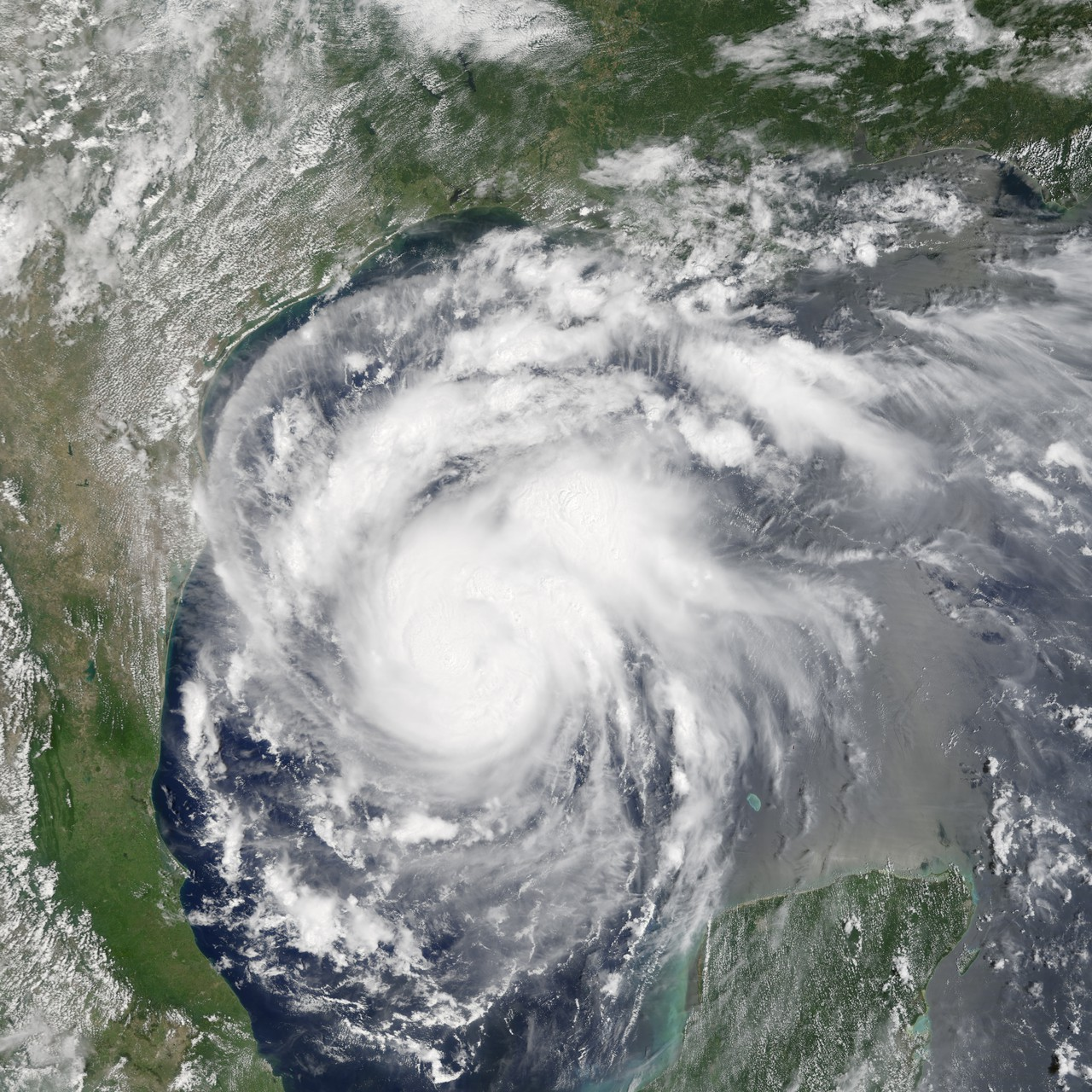 Hurricane Harvey from space on 24 August 2017 (Credit: NASA Earth Observatory/J. Allen/Terra - MODIS)