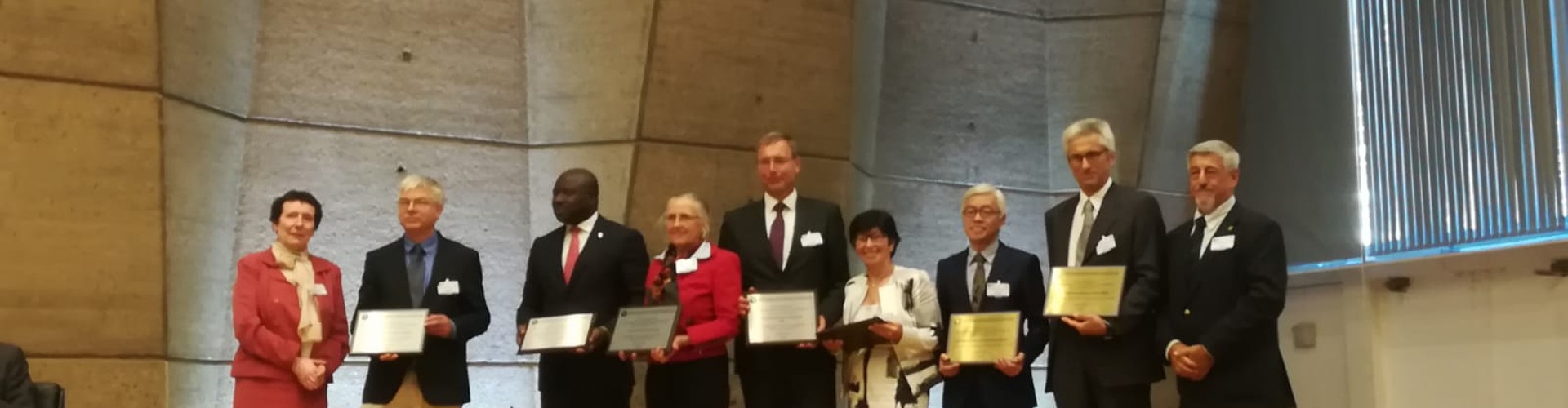 EGU President Alberto Montanari (second from right) on stage with other awardees at the IUGG event