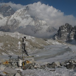 Taking measurements on a glacier in the Dudh Koshi basin