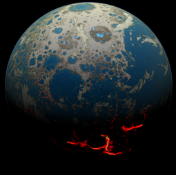 An artist's conception of the early Earth