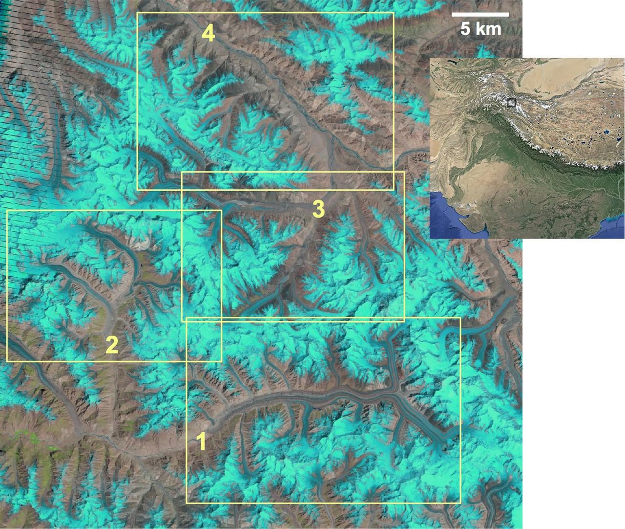 Satellite image of the study region in the Karakoram (Credit: F. Paul, The Cryosphere, 2015 & USGS/NASA & Google Earth)